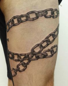 Some chain action on David's thigh done by Val Bleh Tattoo at BODKIN TATTOO…