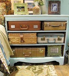 Uma ideia legal para reaproveitar as cômodas e malas antigas com estilo e beleza!