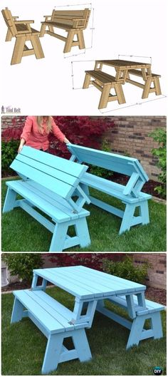 DIY Convertible Picnic Table And Bench Instructions   DIY Outdoor Table  Ideas U0026 Projects Free Plans