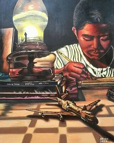 The artist was inspired to paint this young man who might not have much but who has a future as bright as the lantern he uses to study.  #acrylic #acrylicpainting #painting #illustration #portrait #filipinoart #education #instagood #instafun #art #arte #fineart  # # #kunst #instaart #искусство #미술 #藝術 #美術 #artistsofinstagram #artoftheday #artisbeauty #artiseverywhere #artchisel  About the Artist: Bryan from the #Philippines enjoys testing his artistic abilities with acrylic #oil and…