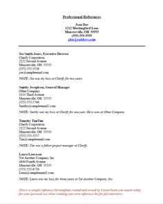 Sample Resume Reference Page Template - http://www.resumecareer ...