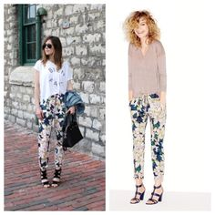 """J. Crew cove floral drawstring pants Covered in oversize blooms, this pant has an easy drawstring silhouette for a laid-back-meets-lovely combination that we're into this season. Cotton. Drawstring at waist. Cuffed. Machine wash. Favorite fit—our most universal fit with a medium rise. Sits below waist. Relaxed through hip and thigh, with a tapered leg. 26"""" inseam. J. Crew Pants"""