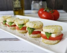 Italian Caprese Tea Sandwiches at ALittleClaireification.com   Fun for the kids and easy to make.
