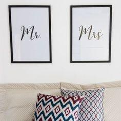 Conjunto de Quadros Mr. & Mrs. Mr Mrs, Frame Wall Decor, Vinyl Lettering, Wall Art Designs, My Dream Home, Printable Wall Art, Diy Design, Bed Pillows, Sweet Home