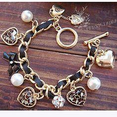 Pearl+Heart+Charm+Bracelets+Jewelry+Christmas+Gifts