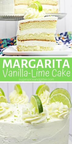 A decadent and delicious Margarita Cake with tequila in the batter! Topped with vanilla lime frosting inspired by everyone's favorite tequila cocktail Tequila Rose, Tequila Sunrise, Tequila Mexicano, Tequila Jose Cuervo, Easy Desserts, Delicious Desserts, Margarita Cake, Baileys Recipes, Lime Cake