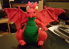 Red Dragon Welsh Dragon Crochet, front view , wings folded out
