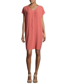 Short-Sleeve+Silk+Shift+Dress,+Coral+by+Eileen+Fisher+at+Neiman+Marcus.