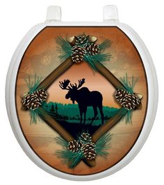 Themes Moose At Sunset Toilet Seat Decal