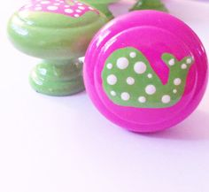 Whale Dresser Knobs in Pink and Green