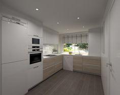 Aravaca | Cocina Santos | Modelo Line Estratificado Roble y Blanco | Encimera Compac Luna | Docrys Cocinas