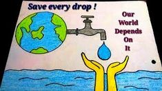 How To Draw Save Water Poster Drawing For Kidseasy Save Water - Water Conservation Drawing Save Water Drawing Images, Save Water Images, Save Water Poster Drawing, Save Earth Drawing, Poster On Save Water, Water Pictures, Easy Drawings For Kids, Colorful Drawings, Drawing For Kids