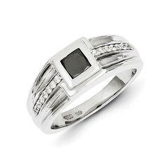 14k White Gold Black and White Diamond Men's Ring SKU: QGY11261AA $955.99