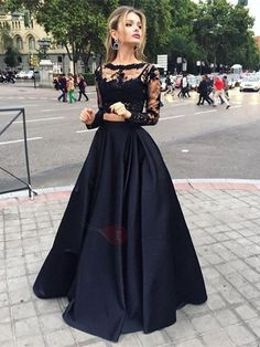 Vintage Bateau Neck Two Piece Long Sleeves Lace Evening Dress : Tidebuy.com
