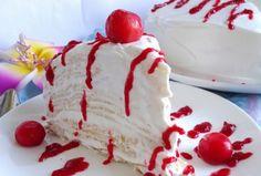 Pancake cake with cherries