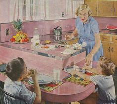 Mermaids of the Lake Blog: Very Pink Vintage Kitchens for Pink Saturday!  Yep mom had the pink kitchen!