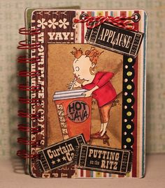 Art Impressions Ai People Cathy Caffeine set.  Handmade altered binder notebook.  Coffee themed.