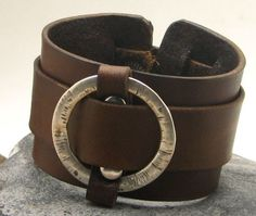FREE SHIPPING . Men's leather bracelet. Brown by eliziatelye, $25.00
