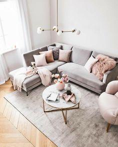 Blush Pink Living Room, Boho Living Room, Living Room Grey, Pink Room, Living Room Carpet, Living Room Ideas Pink And Grey, Glamour Living Room, Pastel Living Room, Pink Living Rooms