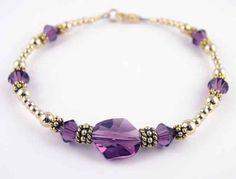 2 Piece Bracelet & Earring SET: 14K Gold Swarovski Crystal Handmade Beaded Bracelets February Amethyst Birthstones - LARGE 8 In. Damali. $89.95