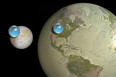 Compared to Jupiter's moon Europa, our planet is practically a desert, as this NASA image shows. It's a computer visualization showing Europa and a dried-out Earth, with the volume of all their water represented by blue spheres.  (Details at APOD: 2012 May 24 - All the Water on Europa)