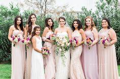 Bridesmaids in blush.