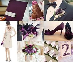 Chocolate Brown and Lilac Purple Wedding Love the boutineres in the ...