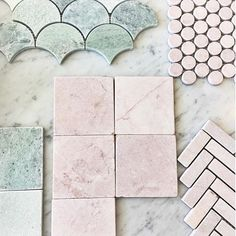 """BYZANTINE DESIGN op Instagram: """"Our exclusive Tumbled and Honed Pink and Ming Green Marble range has grown with the introduction of these beautiful 100 x 100…"""""""