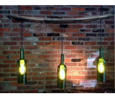 You could make this into a DIY project-  with wine bottles made into pendant lighting.