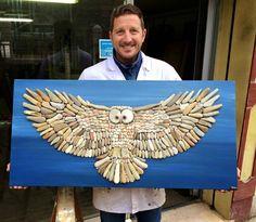 MENTŐÖTLET - kreáció, újrahasznosítás: kavics... Beautiful stone mosaic of an owl before it strikes!