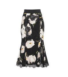 Dolce & Gabbana Lace-trimmed Printed Silk-blend Skirt For Spring-Summer 2017