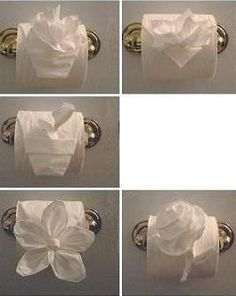 Toilet Paper Origami.  I love this for when guests come over but it is too pretty to destroy, that would be a major problem.  :)