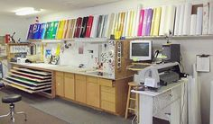 Sign Shop Layout: Vinyls Storage, Vinyls Inspiration, Signs, Offices Inspiration, Magazines