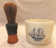Vintage FULLER Bakelite Shaving Brush Old Spice Milk Glass Shaving Mug Set