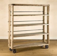 SALVAGED WOOD AND STEEL SHELVING  Restoration Hardware    I really like this in the kitchen.  I can just envision it covered in fresh baked breads and pies.  mmmm