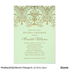 Wedding Bridal Shower | Vintage Glamour in Green Card