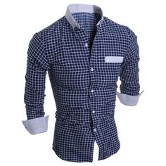 Long Sleeve Button Down Checked Shirt - CADETBLUE L