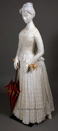 Day dress, American, ca. 1885. Muslin. Wadsworth Atheneum