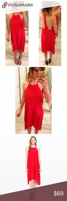 "➡️Club Monaco Red Dreya T-back Dress⬅️ The drama is in the details. In an easy, body-skimming shape that never fails to flatter, it features a low-cut racerback that creates a striking T-shape. Deep cutouts frame the slender back panel, and the hem falls to soft, asymmetrical points. And it is all held by one tiny button at halter strap. Timelessly sexy.  Silk. A-line silhouette. 46"" from high point of strap. Fully lined. Club Monaco Dresses Midi"