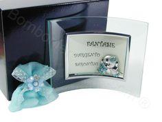 Portafoto in vetro curvo con applicazione cagnolino in laminato argento con portaconfetti #portafoto #cagnolino #battesimo #bambino