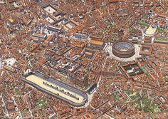 ue du centre de Rome : Capitole, forum Romain, impériaux, Colisée, Palatin et Circus Maximus