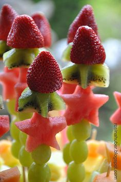 pretty fruit skewer flower - Google Search