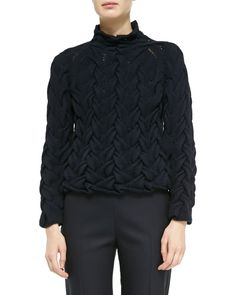 Long-Sleeve Chunky Cable-Knit Cashmere Sweater, Navy Blue - THE ROW