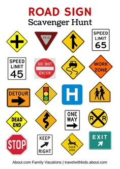Free printable travel games for kids, including scavenger hunts, bingo, license plate game, hangman, word searches, connect the dots, and more.: Road Sign Scavenger Hunt