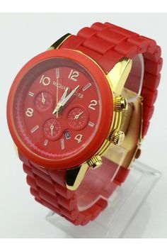 Michael Kors Red Midsized Watch Polyurethane Chronograph