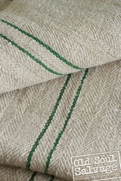 Antique European Grain Sacks - Hemp/Linen - Green. $42.50, via Etsy.