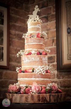 4 tier naked wedding cake.