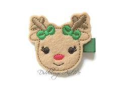 Reindeer Hair Clip Christmas Hair Clip Reindeer by DiddlebugsAndMe