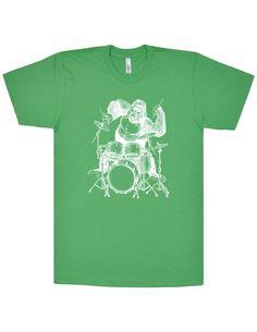 Gorilla Playing Drums T-Shirt. Men / Unisex Fine Jersey Short Sleeve Tee. White…