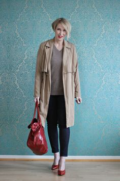A fashion blog for women over 40 and mature women  http://www.glamupyourlifestyle.com/  Trench: Zara Sweater: Christian Berg Pants: Selfnation CH Shoes: Noe Bag: Hakei